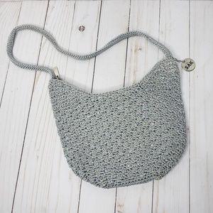 The Sak Gray Silver Crocheted Mini Handbag